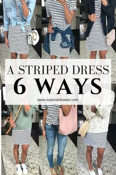 Outfit Remix: A Striped Dress 6 Ways | my kind of sweet | outfit ideas | women's fashion | style | spring style | stripes | shein | workwear | athleisure | mom style | summer style #fashion #style