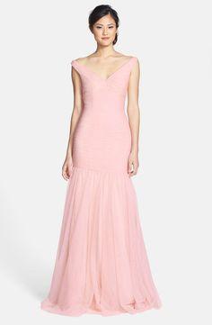 ddf54b4c46e Monique Lhuillier Bridesmaids Tulle Trumpet Dress Blush Bridesmaid Dresses  Long