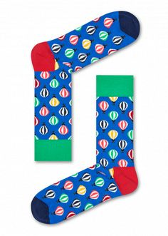 Float away with a pair of colorful balloon socks. Not only does this pair of socks feature small balloons of all different colors, it also has solid patches of color to coordinate and highlight the vivid patterns. Knitted from combed cotton, these multicolored socks are soft and snug for a luxurious fit. Offered in sizes for women and men.