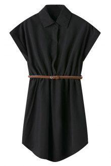 Short Sleeve Solid Color Shirt Dress
