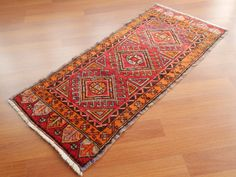 Light Red and Faded Orange Small Turkish Floor Mat by HANDSONHIPS