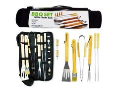"""Barbecue Set With Carry Bag - Case of 6 by Bulk Buys. $55.53. This barbecue set with carry bag comes with all the essential utensils needed to be a grill master! Includes: spatula, tong, fork, basting brush, skewers and corn cob holders. The entire set comes packaged inside a convenient zip close nylon bag with handle and strap. Measures almost 17"""" wide."""