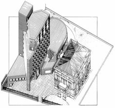 Sede del Bankinter (1973-6) Madrid   Rafael Moneo + Ramón Bescós Renzo Piano, Architecture Office, Architecture Drawings, Office Buildings, Zaha Hadid, Section Drawing, Brick, Louvre, Sketches