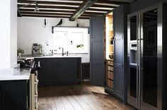 This contemporary black kitchen in a thatched cottage was our winning 2017 Professional UK Interior, designed by Alresford, England–based Fawn Interiors. Kitchen Pantry Design, Luxury Kitchen Design, Best Kitchen Designs, Interior Design Kitchen, Kitchen Ideas, Kitchen Inspiration, Kitchen Modern, Kitchen Storage, Interior Inspiration