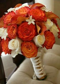 orange and white wedding bouquets