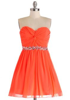 Pretty Punchy Dress - Chiffon, Woven, Coral, Solid, Beads, Sequins, Ruching, Special Occasion, Prom, A-line, Strapless, Better