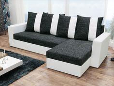 Rohová sedačka PRAGA, černá látka/bílá ekokůže Rohová sedačka PRAGA Sedačka je univerzální = roh lze smontovat na pravý i levý. Zadní část sedačky je potažená látkou, je tedy možné postavit sedačku kdekoliv v prostoru. Potahová … Sofas, Couch, Modern, Furniture, Home Decor, Products, Prague, Color Combinations, Armchairs
