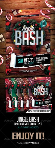 Jingle Bash Xmas Flyer PSD #GraphicRiver Jingle Bash Christmas Flyer Template Specification Great flyer/Poster for Promoting your Party/events Celebration. 1) 2.PSD files. Easily editable and organized 2) Size 4×6 ( 4.25×6.25inc ) 3) CMYK Color, 300 dpi, 0.25 bleed 4) RGB Color, 72 dpi, web use 5) Minimum use adobe Photoshop CS 3 6) Free Fonts Used, Link in Package download 7) All Elements Included 8.) User HELP File available in Package download 9) All Text Editable 10) Easy edit colors…