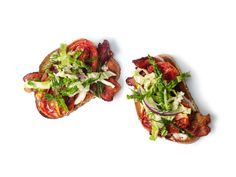 Open-Faced Roasted Tomato BLTs recipe from Food Network Kitchen via Food Network Blt Recipes, Food Network Recipes, Appetizer Recipes, Great Recipes, Appetizers, Favorite Recipes, Recipies, Snack Recipes, Kiwi