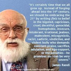 James Randi https://en.wikipedia.org/wiki/James_Randi rivaling with Richard Dawkins (https://en.wikipedia.org/wiki/Richard_Dawkins, quote: http://www.goodreads.com/quotes/23651-the-god-of-the-old-testament-is-arguably-the-most) for the most adequate description of the biblical god ^.^
