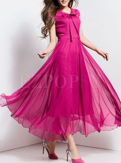 Shop Elegant Nipped Waist Bowknot Big Hem Maxi Dress at EZPOPSY. Long Gown Dress, Chiffon Maxi Dress, Maxi Dresses, Evening Dresses, Mode Abaya, Mode Hijab, Stylish Dresses, Casual Dresses, Fashion Dresses