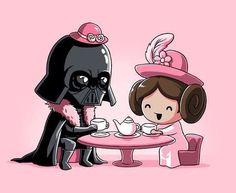 Vaders Tea Party - Star Wars Princesses - Ideas of Star Wars Princesses - Darth Vader & Princess Leia Star Wars Tea Party T-Shirt Darth Vader Star Wars, Leia Star Wars, Star Trek, Darth Maul, Star Wars Party, Star Wars Kindergarten, Dark Vader, Star Wars Nursery, Star War 3