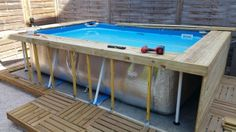 """Howdy, I simply acquired a tubular swimming pool model intex and I want to costume. I considered the terrace boards repair on joists fastened vertically each 40 cm. what about …… (Discussion board """"Across the pool"""" – 22 posts) Backyard Pool Designs, Small Backyard Pools, Diy Pool, Pool Spa, Intex Swimming Pool, Small Swimming Pools, Piscina Pallet, Piscina Intex, Piscine Diy"""