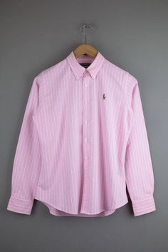 Vintage Ralph Lauren Pink Stripe Oxford Shirt Womens small slim fit US 10 Uk 14