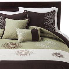 Medallion 5 Piece Comforter Set - Brown/Green