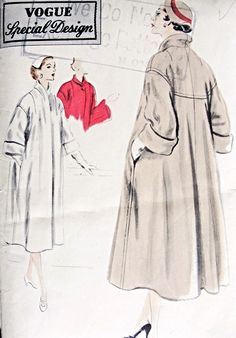 1950s Classy Coat Pattern Vogue Special Design 4291 Vintage Sewing Pattern Lovely Flared Back Turn Back Cuffs Elegant Style Size Small FACTORY FOLDED