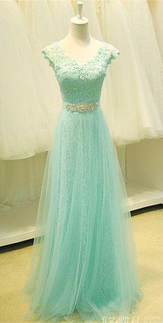 Cap Sleeve Lace V-Neck Applique 2015 Prom Dress Long