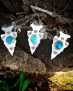 Sterling Silver and Turquoise Arrowhead Pendants by MaedayMetals on Etsy
