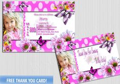 Girl Birthday Invitation Party Photo Pink Cards Girls Invite Butterflies Flowers  Free Thank You card