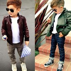 baby boy swag. adorable boy's haircut. love the skinny jeans, leather jacket, shades.  He's got some style.