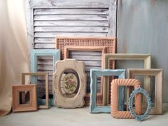 Shabby Chic Coral Blue Cream Painted Vintage by WillowsEndCottage, $105.00