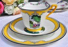 Adderleys fine bone china yellow art deco teacup, saucer and tea plate trio