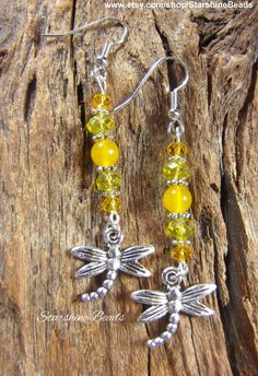 Yellow Jade Dragonfly Earrings  Dragonfly by StarshineBeads