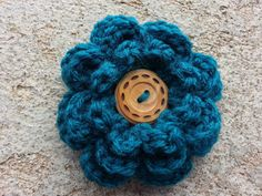 Handmade Crocheted Fluffy Flower Hair Clip in by knotyourgrandma, $6.00 Flower Hair Clips, Flowers In Hair, Colour List, Color, Thing 1, Crochet Flowers, Crochet Necklace, My Etsy Shop, Teal