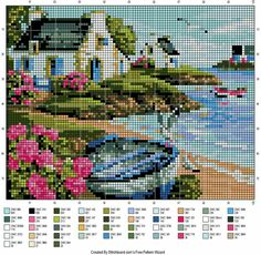 Pampering & Aligning: Grilles Point de Croix - Homes Cross Stitch House, Cute Cross Stitch, Modern Cross Stitch Patterns, Cross Stitch Designs, Cross Stitching, Cross Stitch Embroidery, Cross Stitch Landscape, Stitch Book, Cross Stitch Pictures