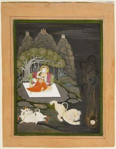 Attributed to Chokha. Shiva Incinerates Kama, Lord of Desire (Madana Bhasma). Opaque watercolor with gold on paper, Devgarh, Rajasthan, Mewar, ca. 1820, n an effort to incinerate Kama, who is sent to complete Shiva's eons-long sex with Parvati, Shiva sends his semen into the flames and creates the God Karttikeya