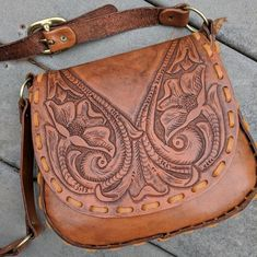 Hand-Tooled Real Leather Satchel Purse on Mercari Tooled Leather Purse, Leather Tooling, Leather Satchel, Leather Purses, Leather Handbags, Leather Bags, Western Purses, Cheap Purses, Cheap Bags