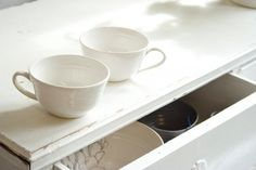 Rachel Dormer white teacups | available here: www.madebyhandonl...