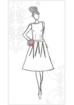 1950's wedding dress sketch