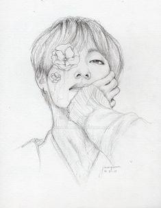 Easy Drawing BTS V Cada vez mas mujeres nos animamos Kpop Drawings, Art Drawings Sketches Simple, Pencil Art Drawings, Fanart Bts, Taehyung Fanart, Painting & Drawing, Drawing Drawing, Mandala Drawing, Drawing Ideas