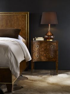 Interior HomeScapes offers the Two Drawer Concave Burl Cabinet by Modern History. Visit our online store to order your Modern History products today. Traditional Furniture, Contemporary Furniture, Walnut Burl, 2 Drawer Nightstand, Nightstands, Dovetail Drawers, Modern History, Concave, Bedroom Furniture