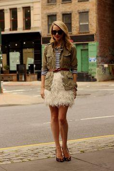 atlantic pacific feather skirt kate spade, St James stripes, Gap utility jacket
