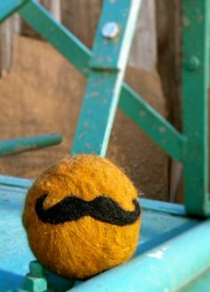 felted soap with a mustache