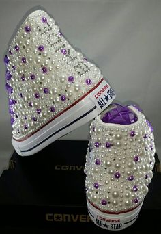 Items similar to Wedding Converse- Bridal Sneakers- Bling & Pearls Custom Converse Sneakers- Bridal Chuck Taylors- Wedding Sneakers- Converse hochzeit- Bride on Etsy Bedazzled Converse Diy, Bridal Converse, Bling Converse, Converse Shoes, Custom Converse, Custom Sneakers, Zapatos Bling Bling, Bling Shoes, Glitter Shoes