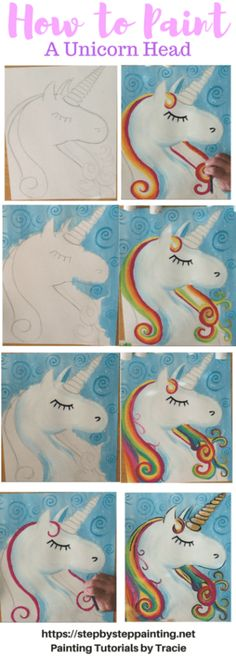 How To Paint A Unicorn – Step By Step Painting. Tracie's Acrylic Painting Tutori… How To Paint A Unicorn – Step By Step Painting. Tracie's Acrylic Painting Tutorials. Learn how to draw and paint a unicorn. Easy, simple, fun for beginners. Acrylic Painting Tutorials, Diy Painting, Painting Techniques, Painting Walls, Heart Painting, Painting Furniture, Kids Canvas, Canvas Art, Canvas Ideas