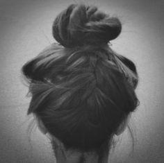 backwards french braid + bun