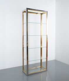 Renato Zevi étagères shelving shelf chrome and brass glass, Italy, circa 1970 Beautiful 8 shelves by Renato Zevi, Italy, It comes with six clear Small Shelves, Glass Shelves, Bold Colors, Colours, Hollywood Regency, Chrome Finish, Clear Glass, Shelving, Shelf
