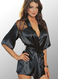 1pcs Hot Sexy Lingerie hot S-L Satin Lace Black Kimono Intimate Sleepwear Robe Sexy Night Gown sex products 18D