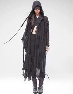 CONTAINS: extrafine alpaca wool, nylon. Dress With Cardigan, Wrap Cardigan, Cardigan Fashion, Black Witch Dress, Apocalyptic Fashion, Post Apocalyptic, Cyberpunk Girl, Punk Dress, Wool Overcoat