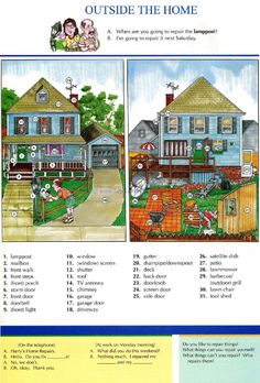 21 - OUTSIDE THE HOME - Pictures dictionary - English Study, explanations, free exercises, speaking, listening, grammar lessons, reading, writing, vocabulary, dictionary and teaching materials
