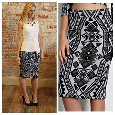 "Aztec pencil midi skirt Modeling size small, 39% polyester 59% rayon 2% spandex.  Waist laying flat: S 13"" M 14"" L 15"" hip S 16"" M 17"" L 18"" length S 25.5"" M 26.5"" L 27.5"". ✨All listings should have updated sizes available in the listing. I discount bundles of two or more items.  ✨LT1353021 Skirts Pencil"