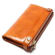 "Universe of goods - Buy ""Women Wallets Genuine Leather Medium-Long Organizer Wallet Oil Wax Cowhide Hasp Vintage Lady Clutch Carteira Feminina Purse"" for only USD. Cowhide Leather, Cow Leather, Medium Long, Long Wallet, Aliexpress, Clutch Wallet, Wallets For Women, Leather Shoulder Bag, Vintage Ladies"