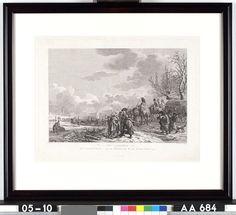 Het overtrekken der Franschen over de Rivier de Waal in den Jaare 1794 - C. Brouwer, J. Groenewoud, J.A. Langendijk - 1795  Maat: 28,5cm x 42cm  Materiaal: drukinkt op papier  Inventarisnummer: AA684