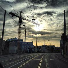 Post-industrial sunset #igersgraz #craneporn #sunset #cloudporn - @haubentaucherat- #webstagram Utility Pole, Poster, Industrial, Clouds, Industrial Music, Billboard, Cloud