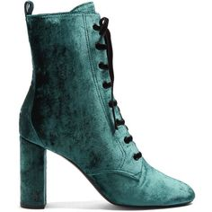 Saint Laurent Loulou lace-up crushed-velvet ankle boots (€850) ❤ liked on Polyvore featuring shoes, boots, ankle booties, ankle boots, green, saint laurent, dark green, laced up ankle boots, bootie boots and green ankle boots