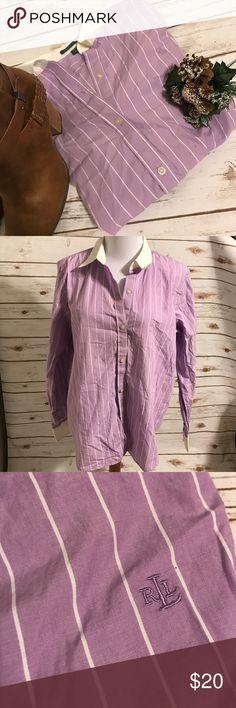 Purple striped Ralph Lauren button down size L White collar with white stripes. Ralph Lauren purple button down. Lauren Ralph Lauren Tops Button Down Shirts